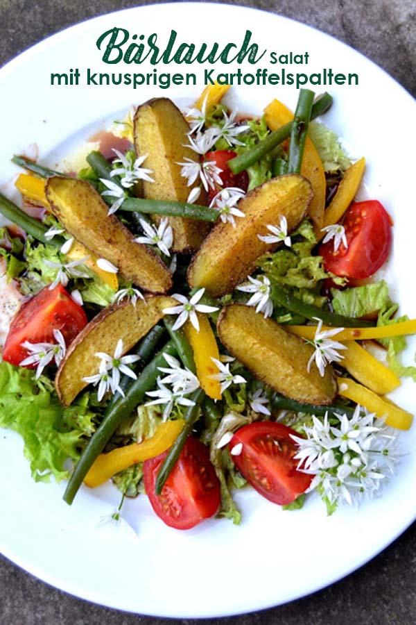 Bärlauchblüten Salat mit knusprigen Kartoffelspalten und Bärlauchblüten - Frühlingsglück Rezept mit Bärlauch aus dem Garten