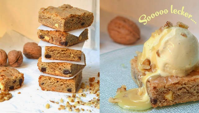 Walnuss Blondies mit Vanilleeis