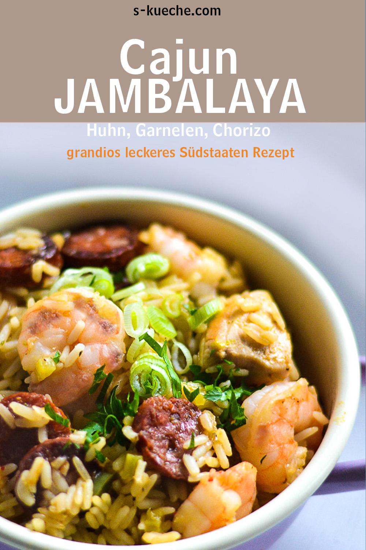 Traditionelles Jambalaya Cajun Style - Rezept für ein klassisches Südstaaten Jambalaja mit Huhn, Garmelen und würziger Wurst - eins der besten Gerichte aus den USA #jambalaja #rezept #eintopf