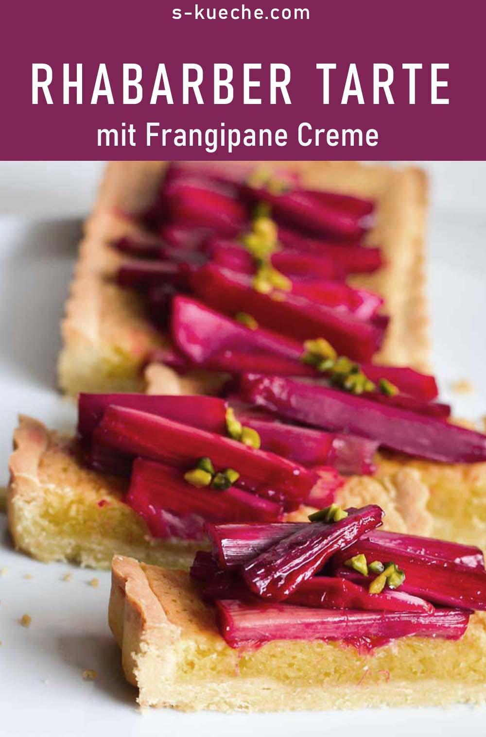 Rhabarber-Frangipane Tarte mit Granatapfel Sirup und Pistazien, Rezept für eine Frühlings Tarte mit Mandelcreme