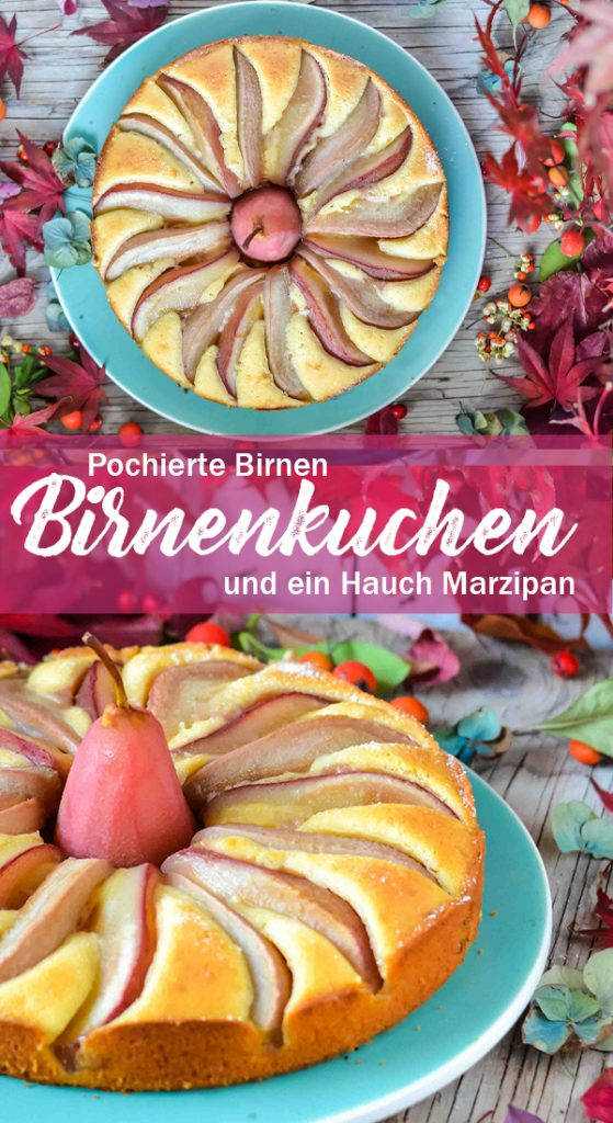 Sehr saftigen Kuchen mit pochierten Birnen und einem Hauch Marzipan