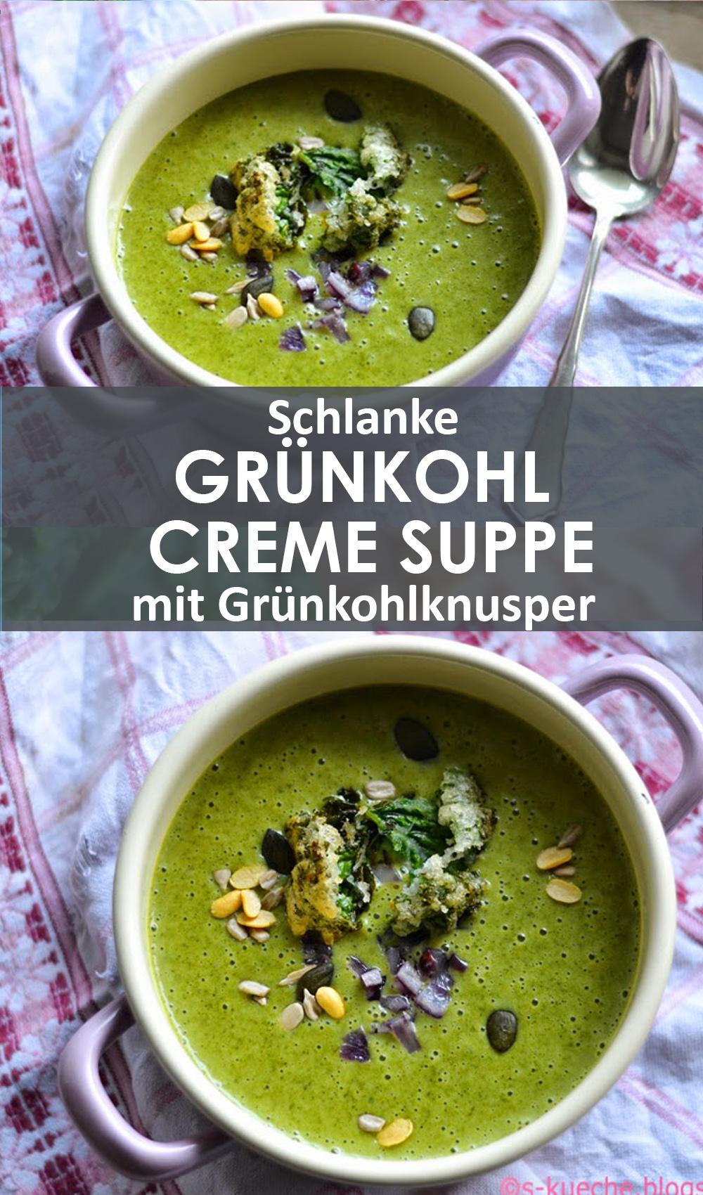 Schlanke Grünkohl Cremesuppe mit Grünkohlknusper