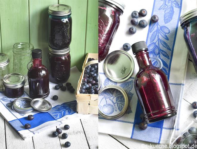 Homemade Blaubeer Sirup für Frühstück, Eis, Kuchen und Dessert