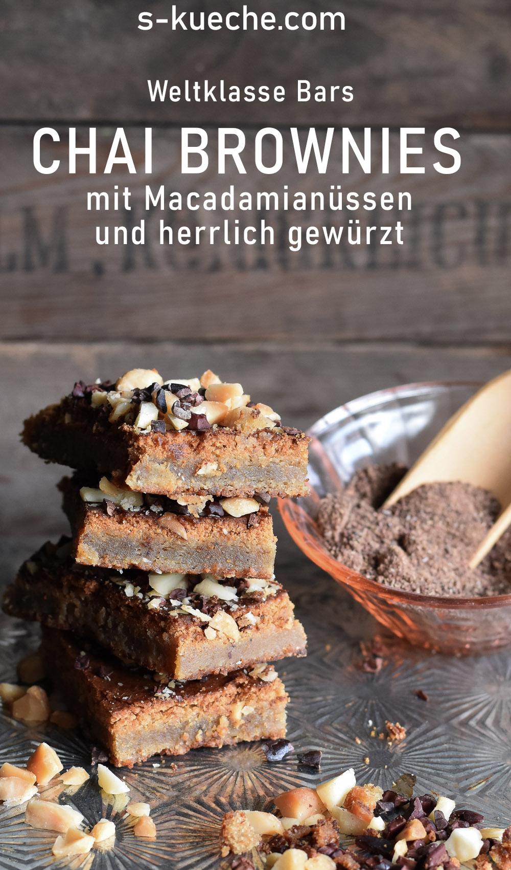 Chai Brownies mit Macadamianüssen