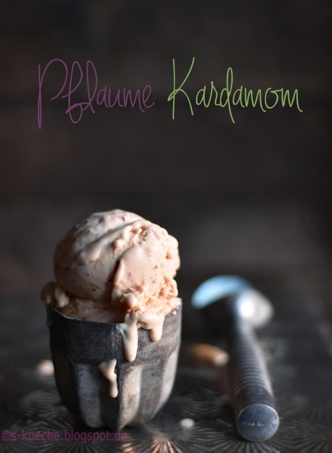 Eiscreme aus ofengerösteten Pflaumen mit Kardamom und Cantuccini - Spätsommerglück