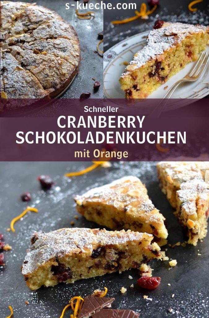 Schneller Cranberry-Schokoladenkuchen mit Orange