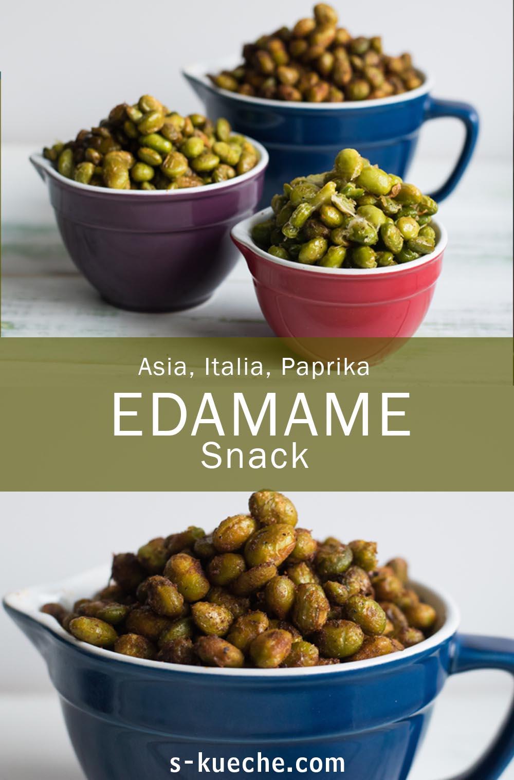 Geröstete Edamame in drei Varianten - Gewürzter Edamame Snack
