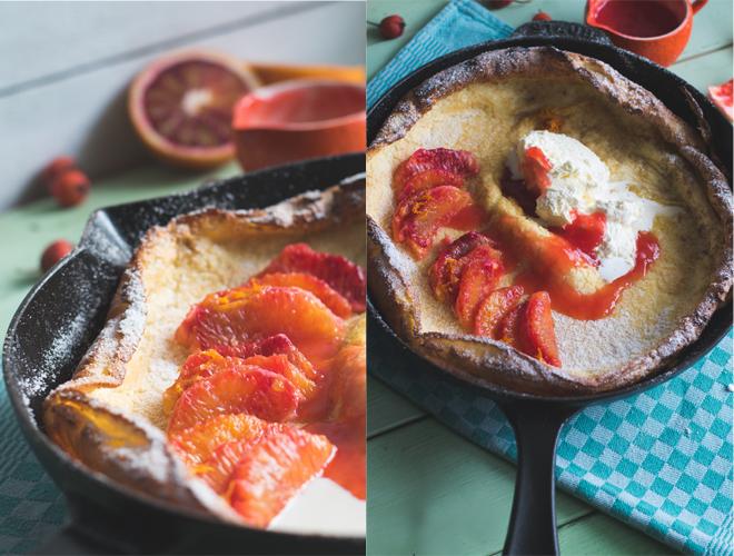 Dutch Baby Pancake mit Blutorangen Gusseisenpfanne Staub