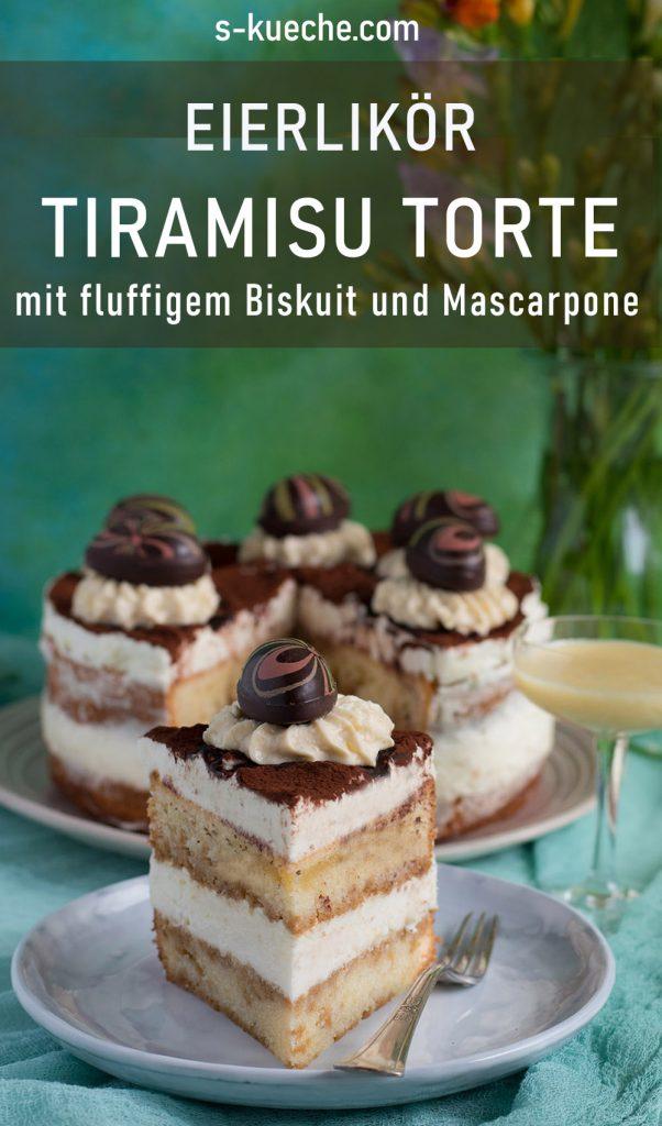 Eierlikör Tiramisu Torte mit fluffigem Biskuit und Mascarponecreme