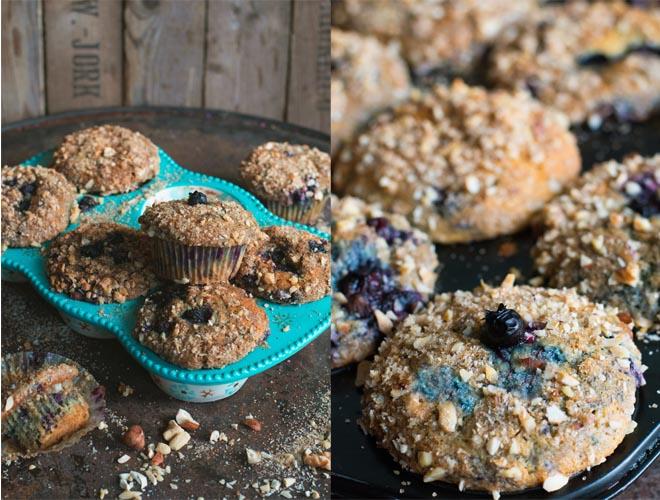 Blaubeer-Joghurt Muffins mit Nusstopping