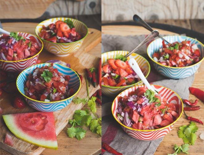 Sommerfrische Taco Sauce Pico de Gallo - Classic, Erdbeere und Melone
