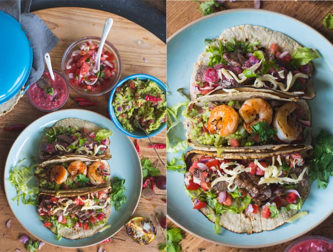 Tacos mit Beef oder Garnelen und 3 Salsas