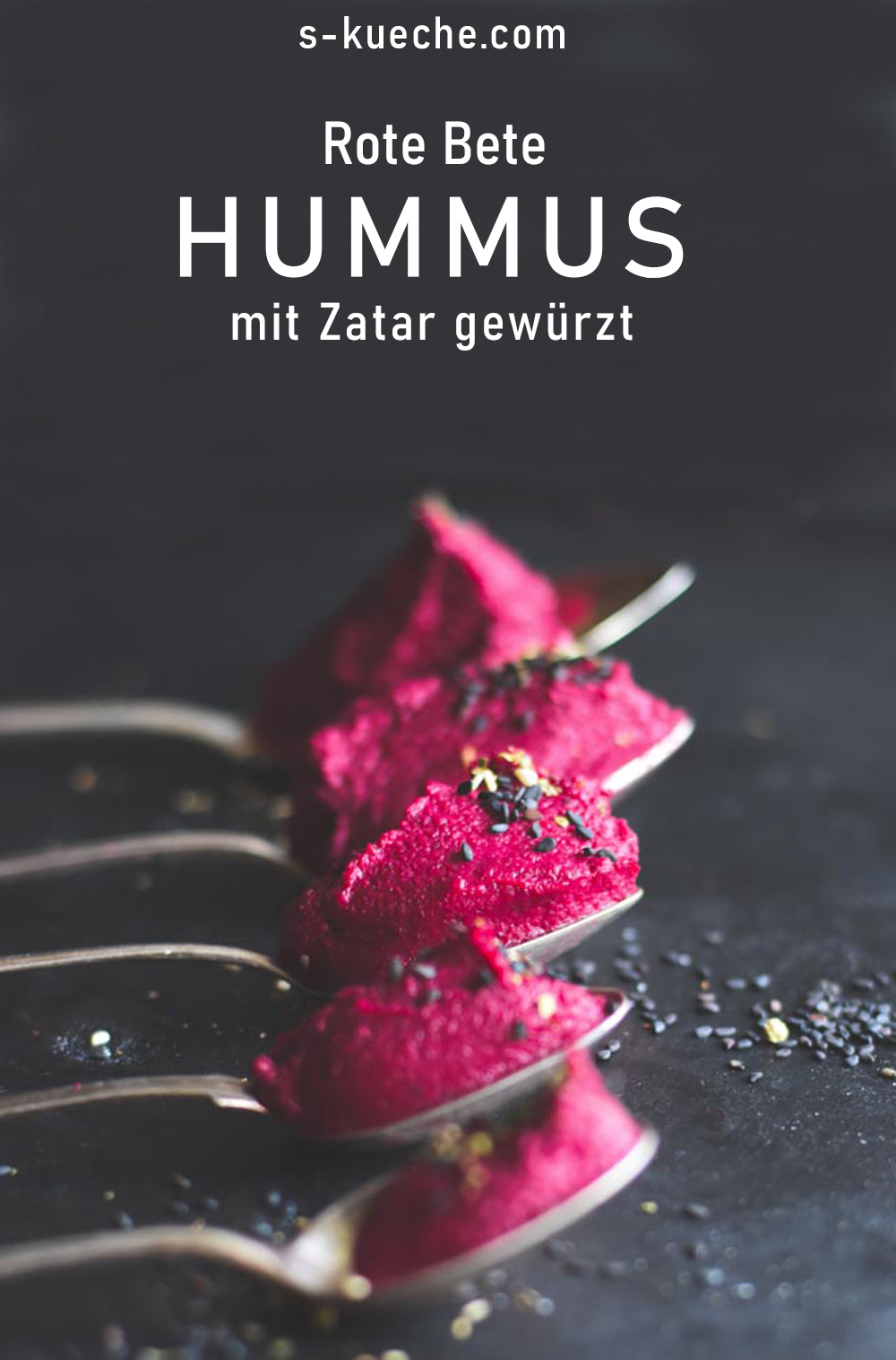 Rote Bete Hummus mit Zatar - Rezept mit oder ohne Thermomix - Blitzschnelles rohes Hummus Rezept mit dem Aroma von 1001 Nacht, #levante #rotebete #hummus #rezept #rawfood
