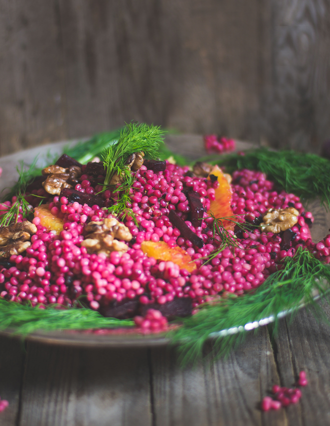 Perl Couscous mit Rote Bete, Walnuss und Orange