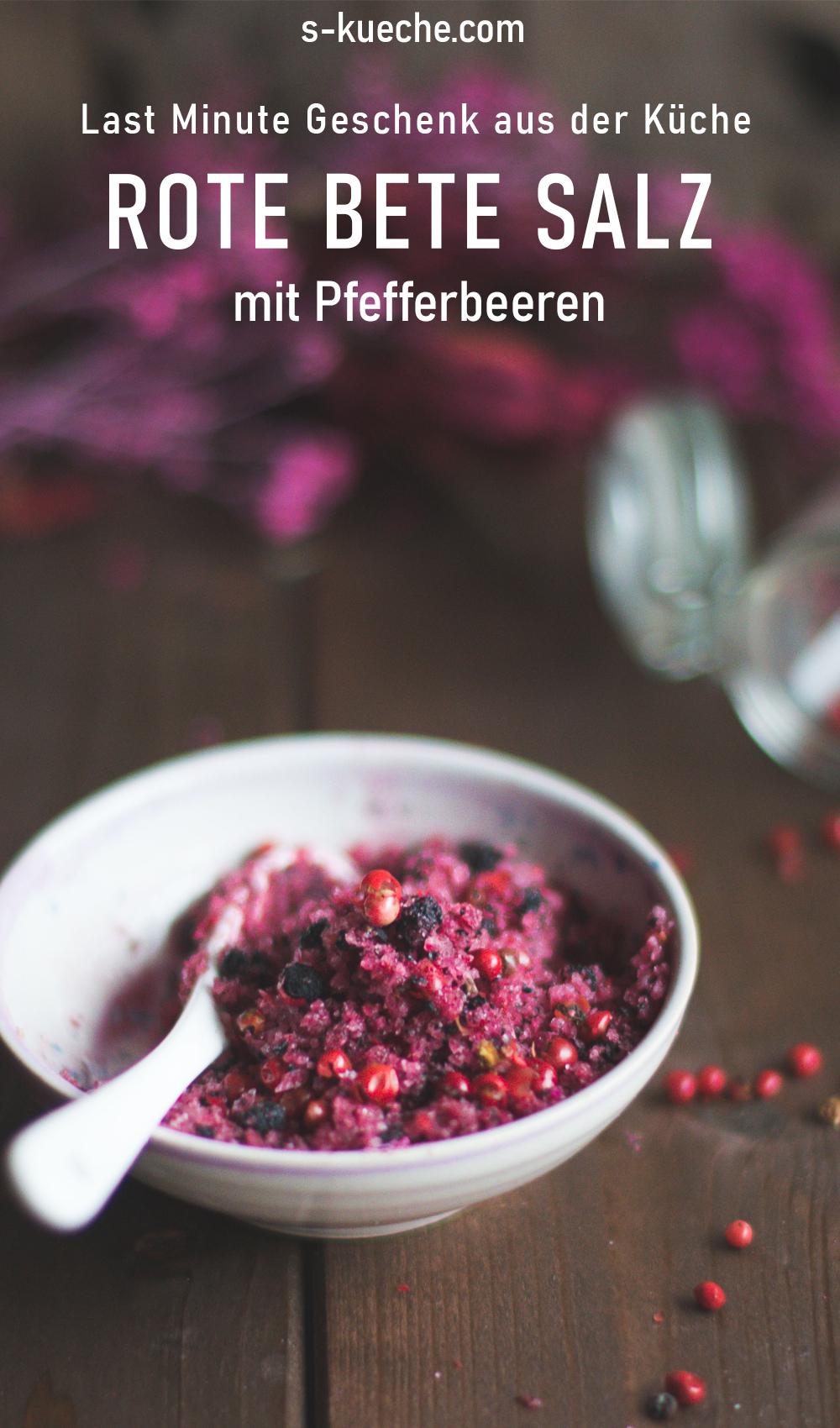 Salz mit Pfefferbeeren und Rote Bete, kulinarisches Geschenk,