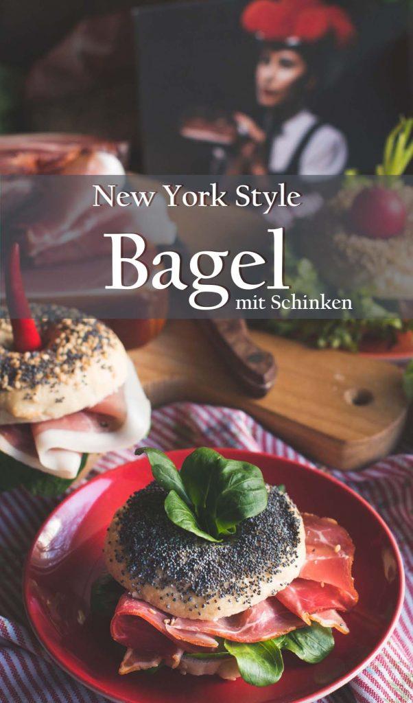 Schwarzwälder Schinken auf New York Style Mini Bagel mit Frischkäse