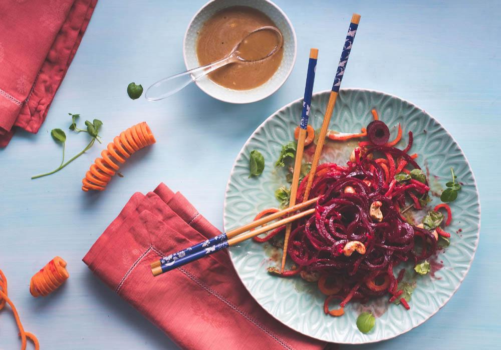 Ingwer In Der Küche | Asia Salat Aus Wurzelgemuse Und Susskartoffelspiralen Mit Sesam