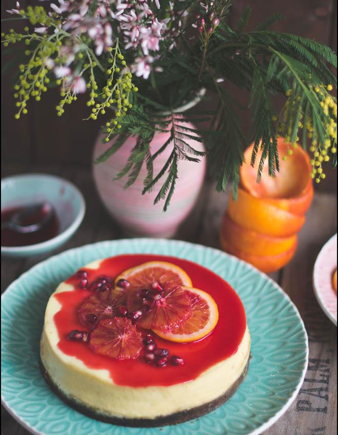 Cheesecake aus dem Varoma - mit Blutorangensauce und Knusperboden