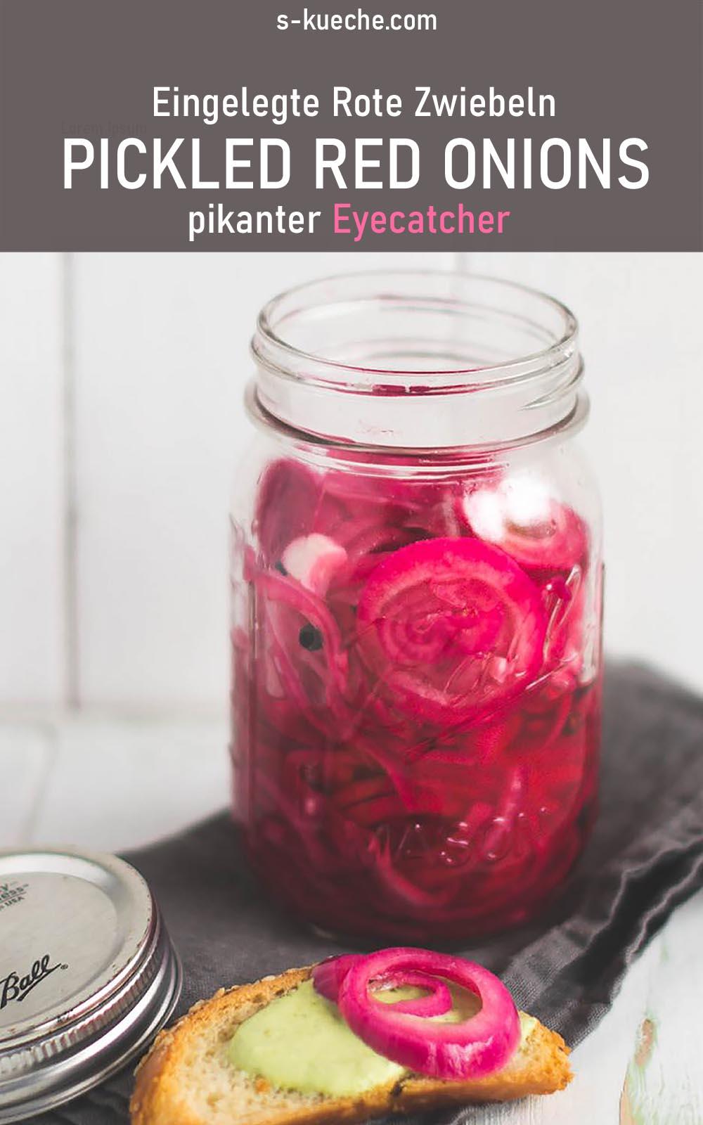 Eingelegte Rote Zwiebeln - Pickled Red Onions für Salat, Vorspeisen, als wunderschönen, essbaren Eyecatcher mit tollem Geschmack #pickledonions #rezept #salat #vorspeisen #einmachen #einlegen