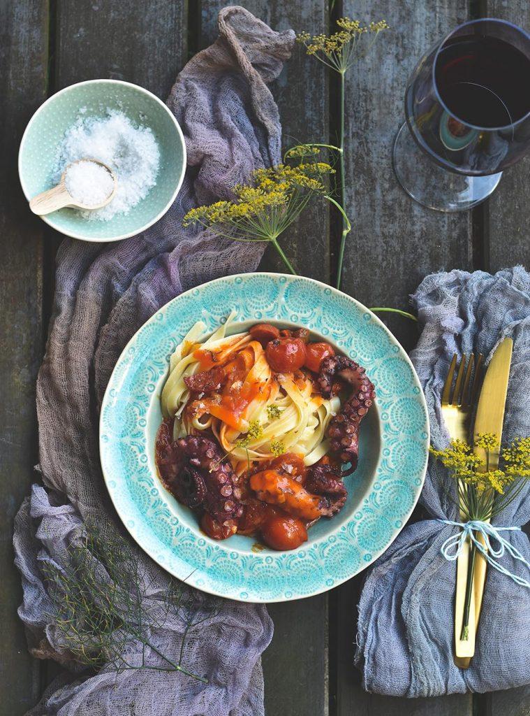 Pulpo Sous Vide mit Pasta und Chorizo