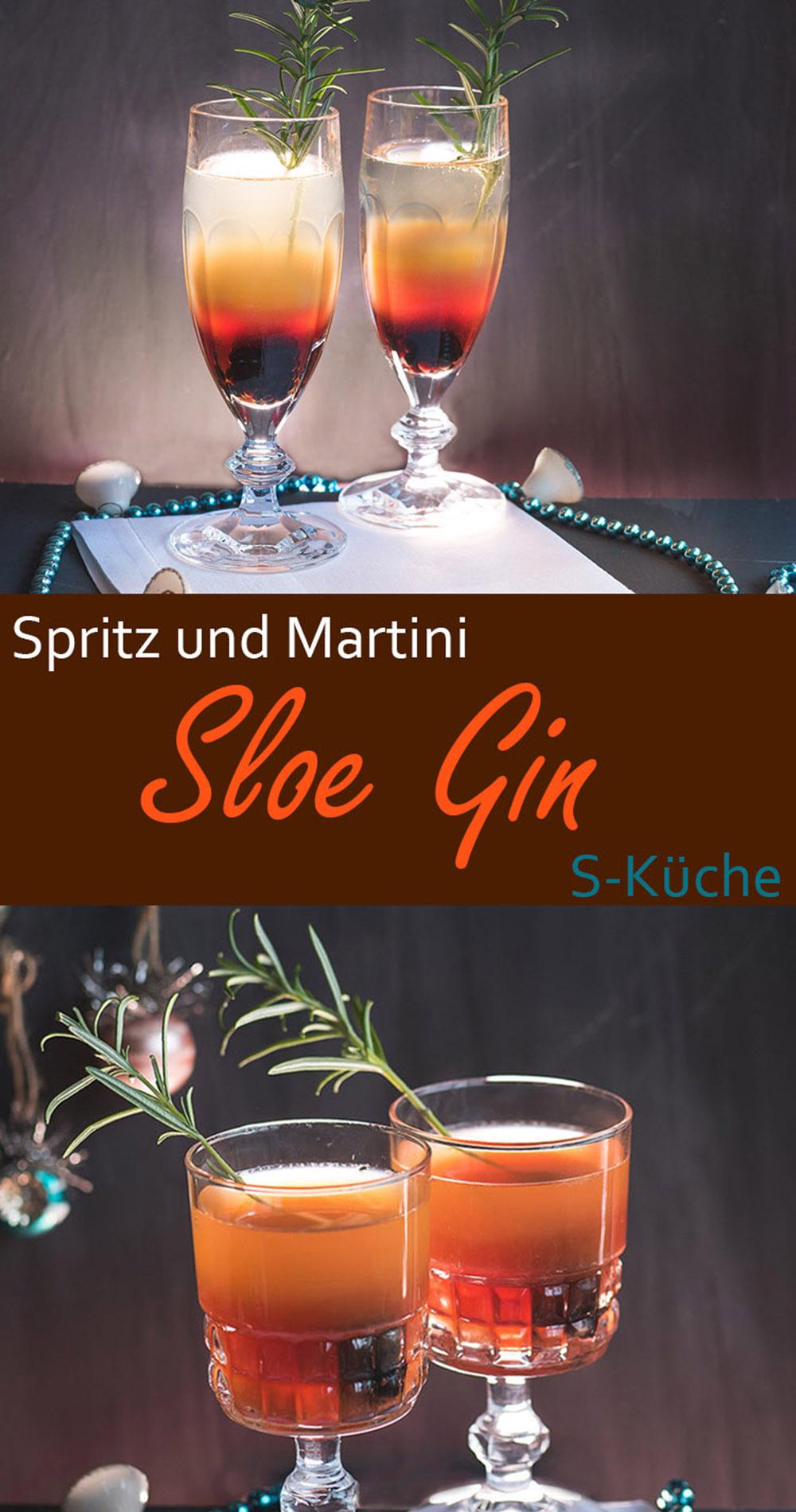 Sloe Gin Cocktails - Sloe Gin Spritz und Sloe Gin Martini. Cocktail, Drink, erfrischend für die Gin o'clock, Winterdrink schnell gemixt #sloegin #gin #cocktail #drink