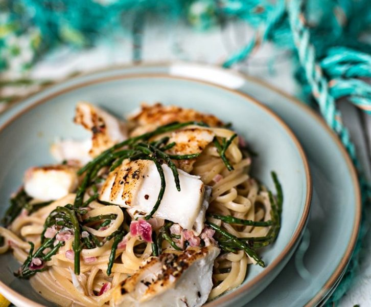 Pasta mit Skrei und Queller und Sylt im Januar - norwegischer Winterkabeljau und Salicorn in einem schnellen, leckeren Pastagericht