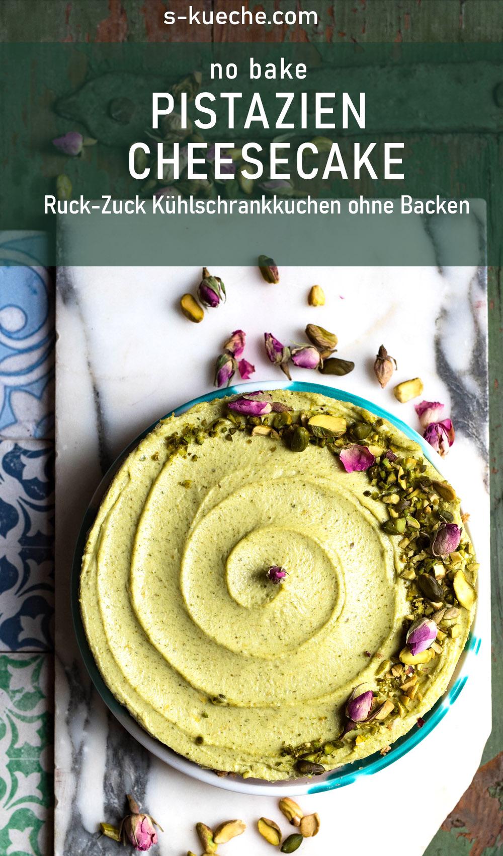 Pistazien Cheesecake - Kühlschrankkuchen ohne Backen. Rezept für sensationell leckeren fixen no bake Kuchen, der im Sommer, und auch zu Weihnachten schmeckt #nobake #kühlschrankkuchen #pistazien ohnebacken #cheesecake #kuchen