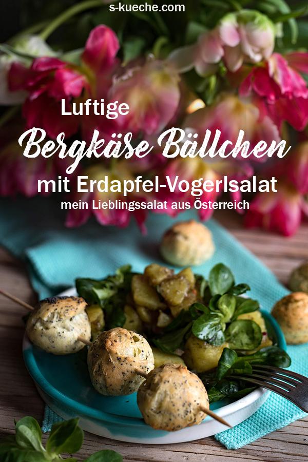 Bergkäse Bällchen mit Erdäpfel Vogerlsalat aka Kartoffel-Feldsalat