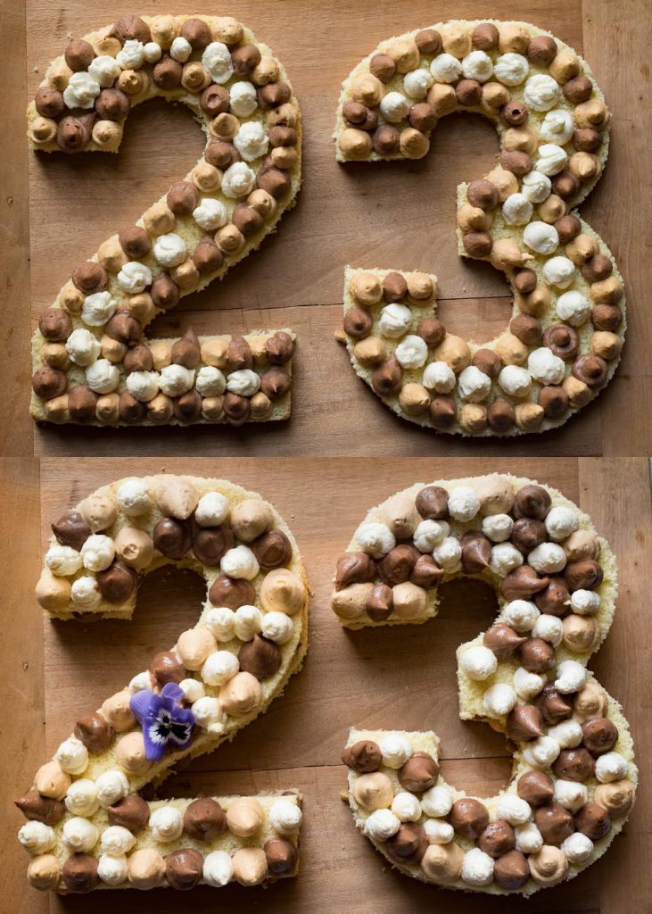 Zubereitung A Guy's Number Cake - Zahlenkuchen zum Geburtstag mit Nougat und Karamell