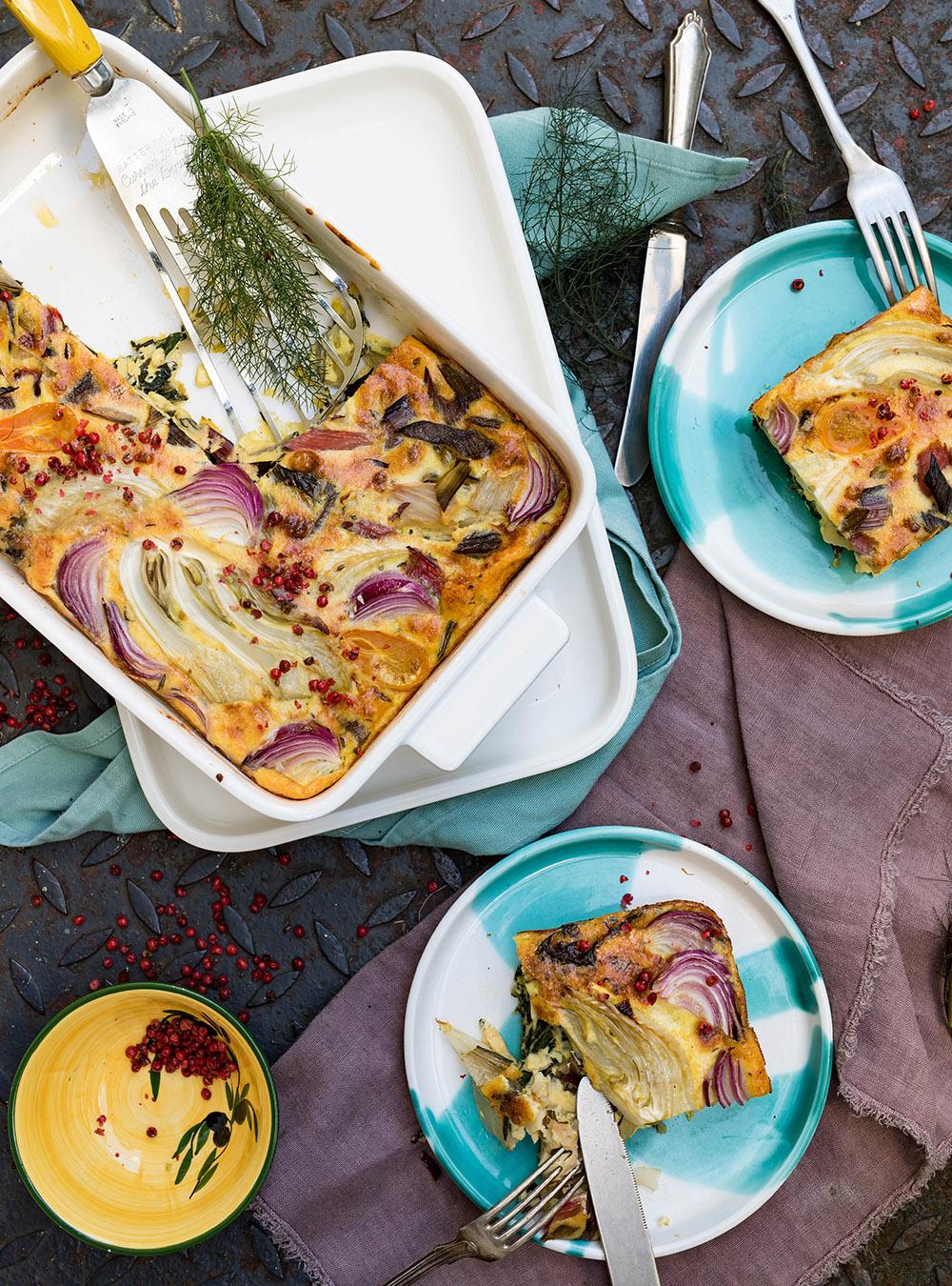 Frittata mit Fenchel und buntem Mangold