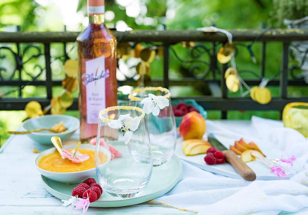 Rosé Wein Cocktail Pfirsich Melba
