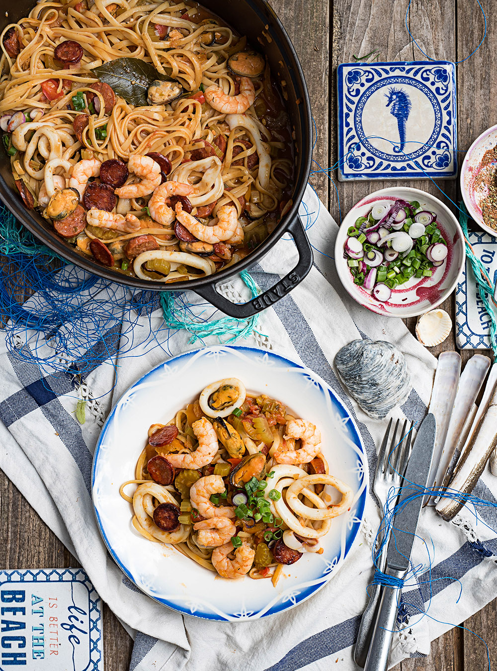 One Pot Pasta Jambalaya mit Meeresfrüchten - Pastalaya mit Frutti di Mare.