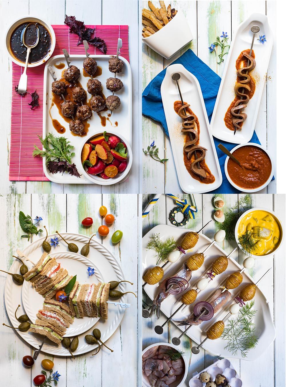 Internationale Partyspiesse aus 4 Ländern -So schmeckt Freundschaft. Schnelle Party Appetizer aus Schweden, England, Japan und Deutschland