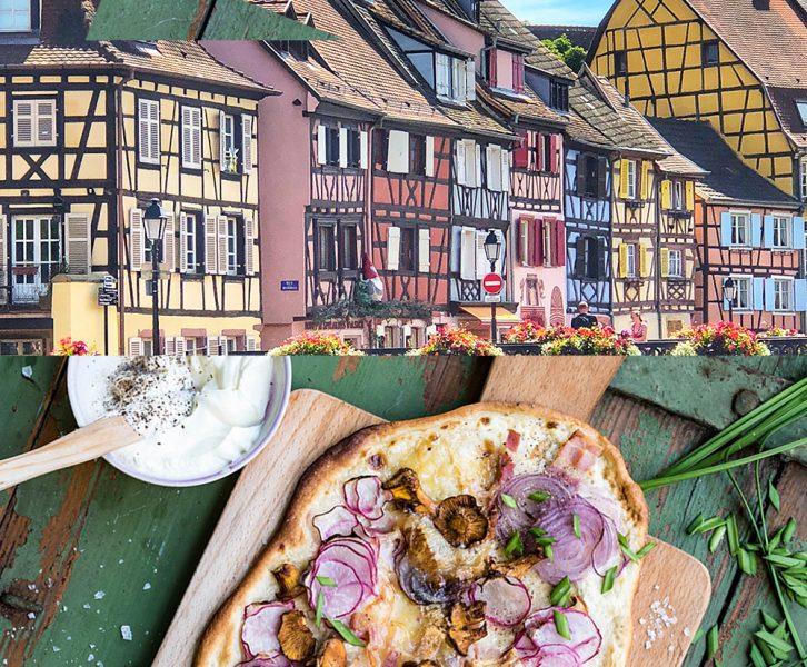Schönes Elsass - Staßburg, Kaysersberg und Colmar - Rezept für Elsässer Flammkuchen mit Radieschen und Pfifferlingen Roadtrip 2018 - Teil I