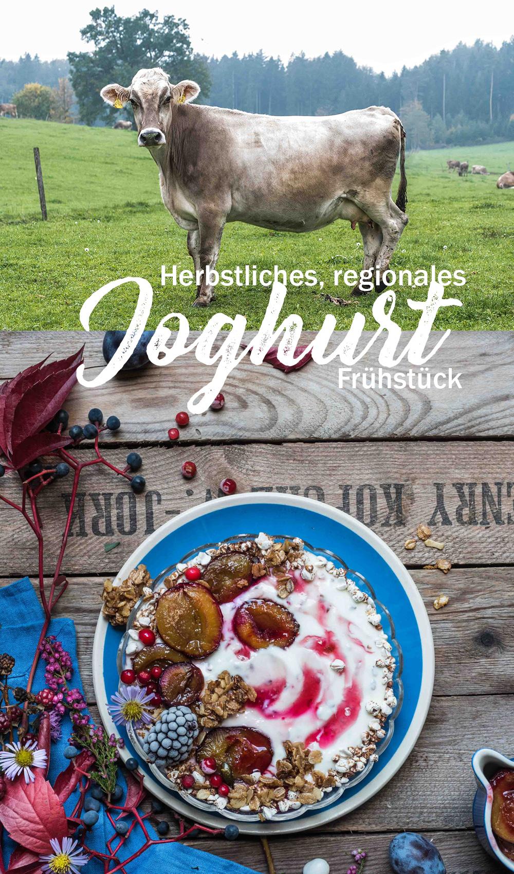 Herbstliches Joghurt Frühstück mit vollwertigen regionalen Zutaten