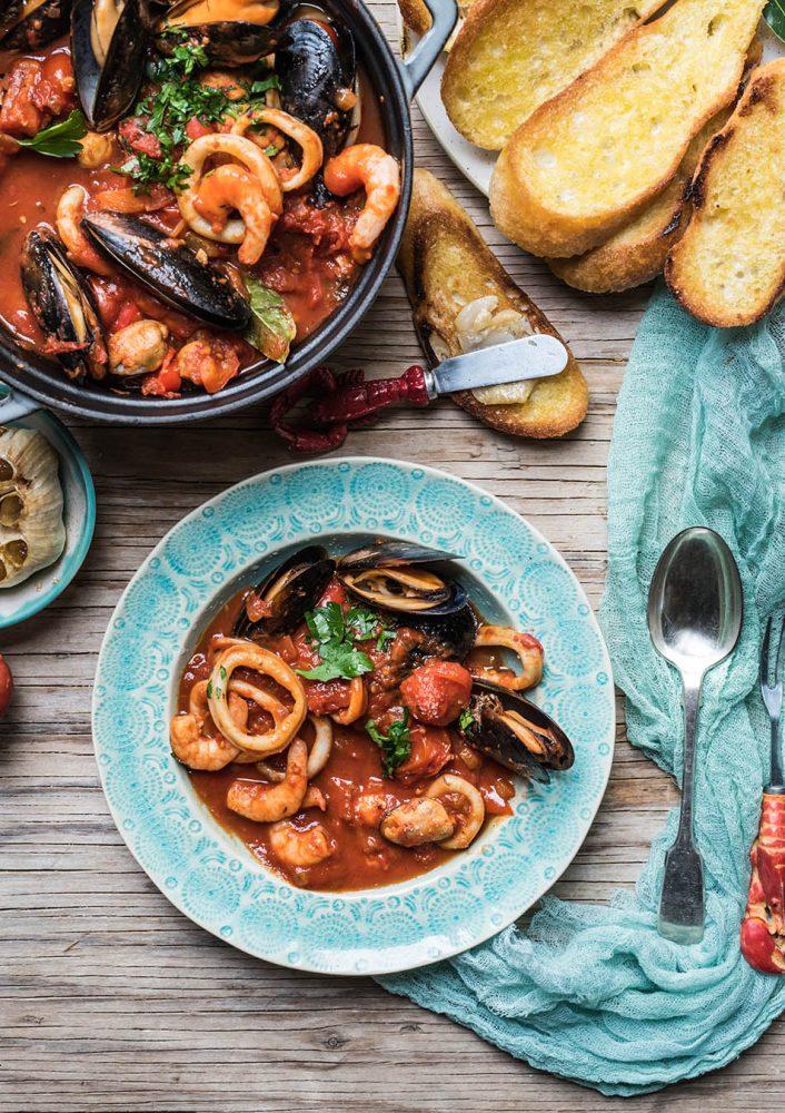 Schnelle Cioppino - Meeresfrüchte Topf
