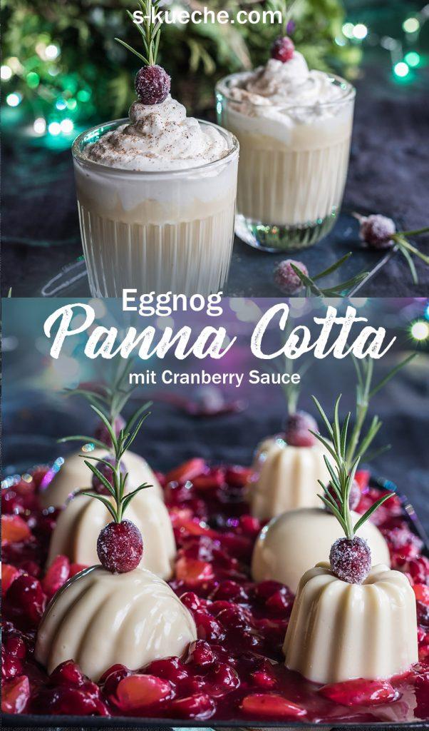 Eggnog Panna Cotta mit Cranberries, den klassischen USA Drink zu Weihnachen im Dessert mit fruchtiger Cranberry Sauce