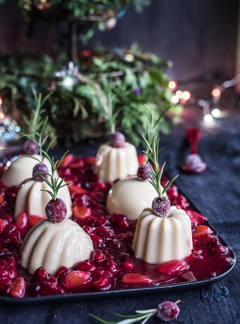 Eggnog Panna Cotta Mit Cranberries