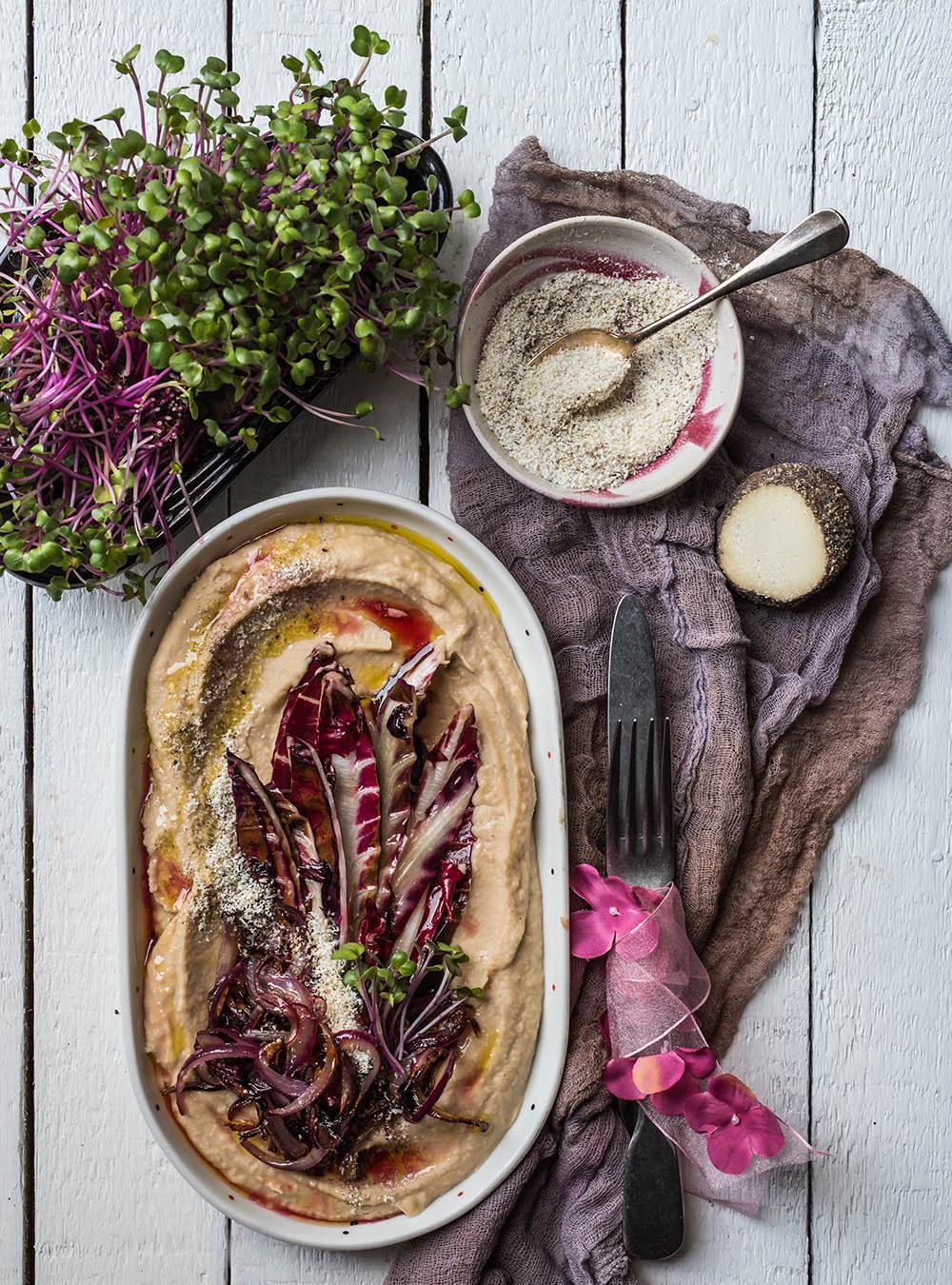 Radicchio mit Bohnenpüree und Ziegenkäse - Veggie Feierabendküche