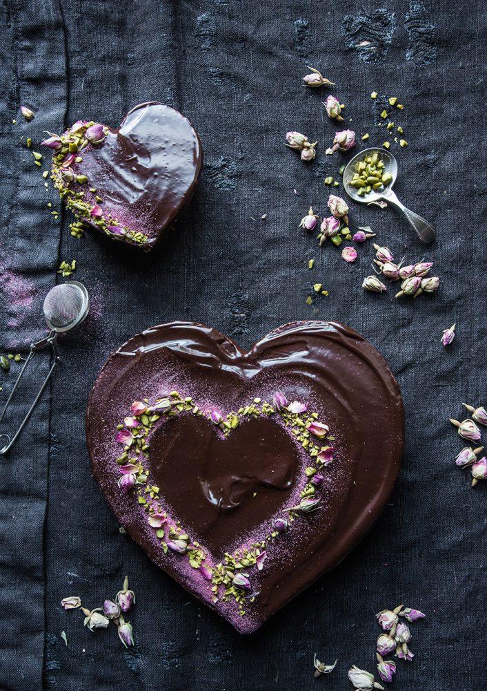 Schokoladenkuchen-Herz für Lieblingsmenschen