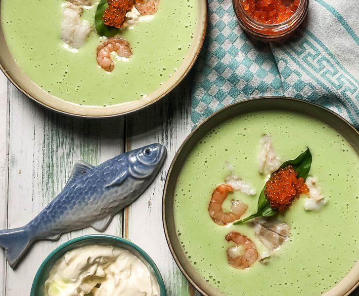 Cremige Bärlauch Suppe mit Krabben und Skrei
