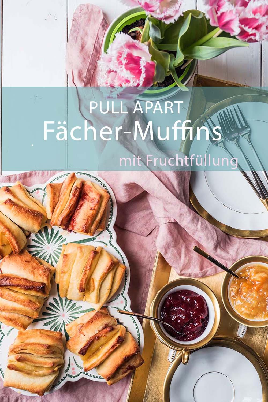 Schnelle und fluffige Zupf-Muffins im Fächer-Look mit Fruchtfüllung aus Fruchtaufstrich
