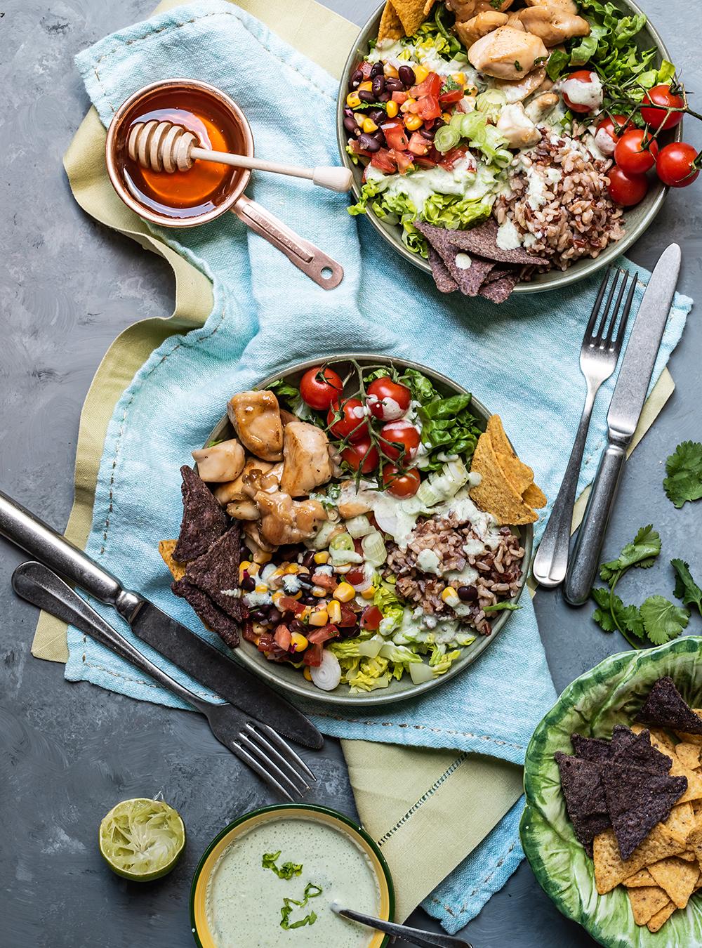 Rezept für Burrito Bowl mit Honey Garlic Chicken