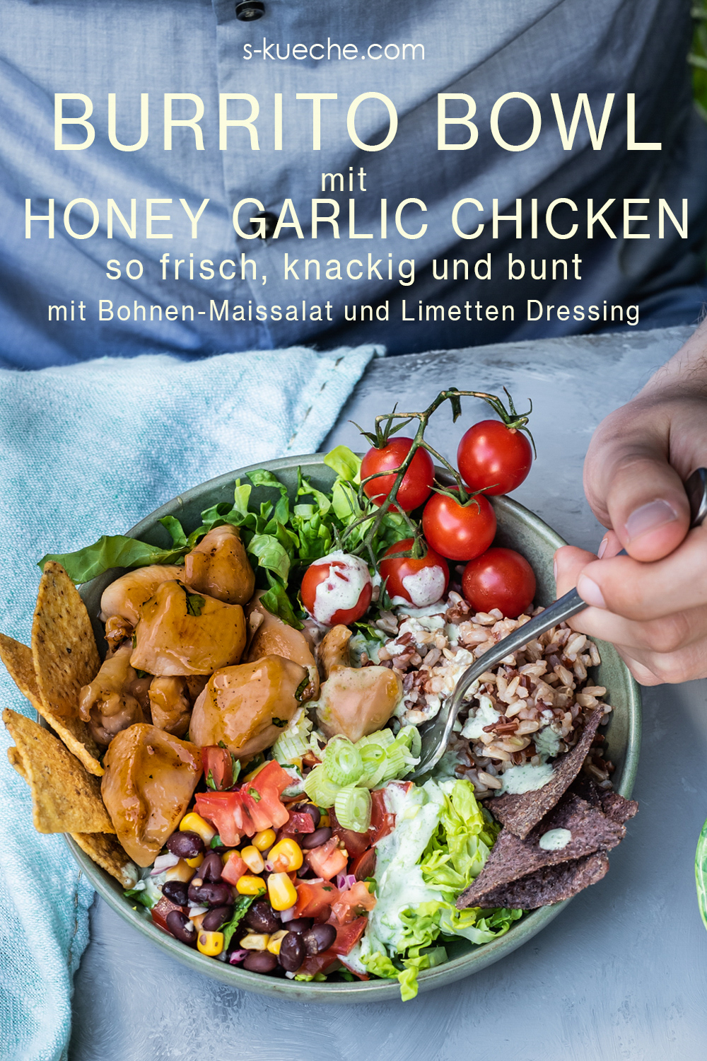 Rezept für Burrito Bowl mit Honey Garlic Chicken