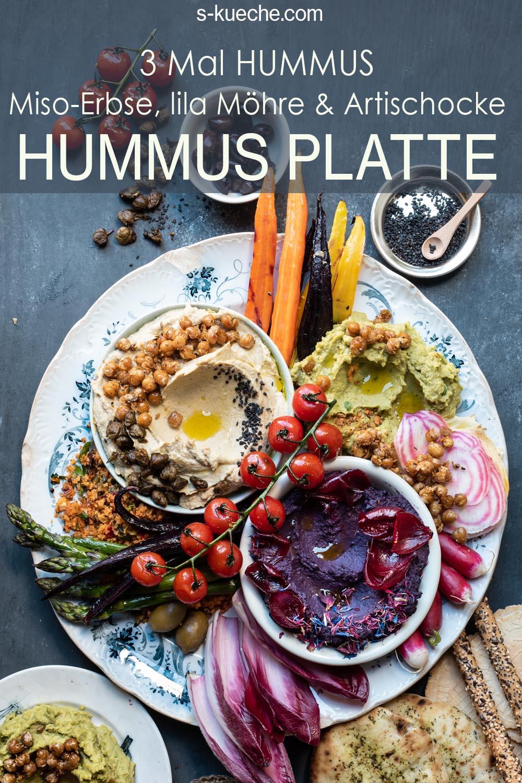 Loaded Hummus Platter - Hummus Platte mit 3 Sorten Hummus und vielen Extras - Miso-Erbse, Artischocke, Lila Möhre