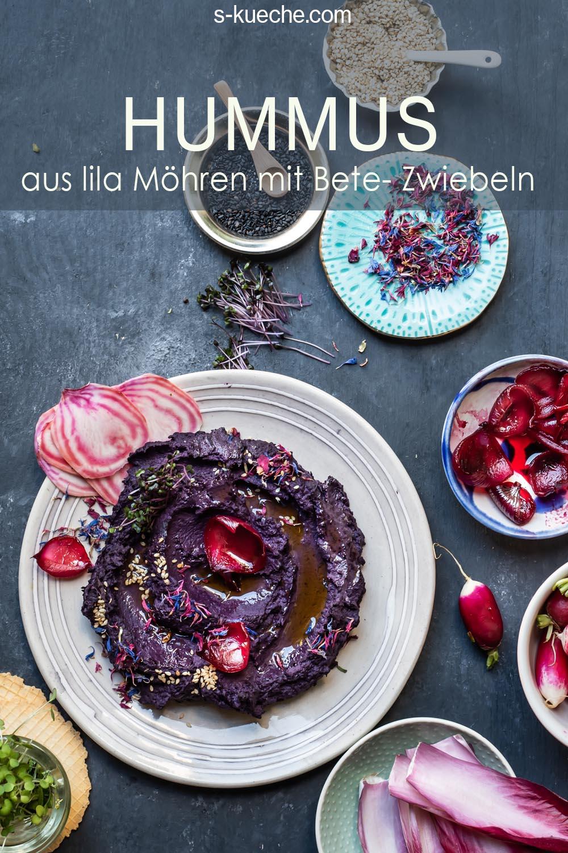 Lila Möhren Hummus mit purple Curry und Rote Bete Zwiebeln