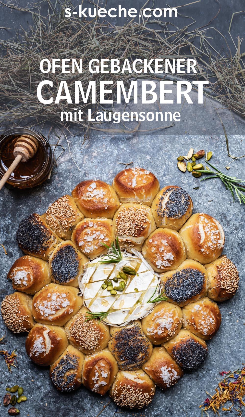 Heumilch Camembert aus dem Ofen mit Laugengebäck