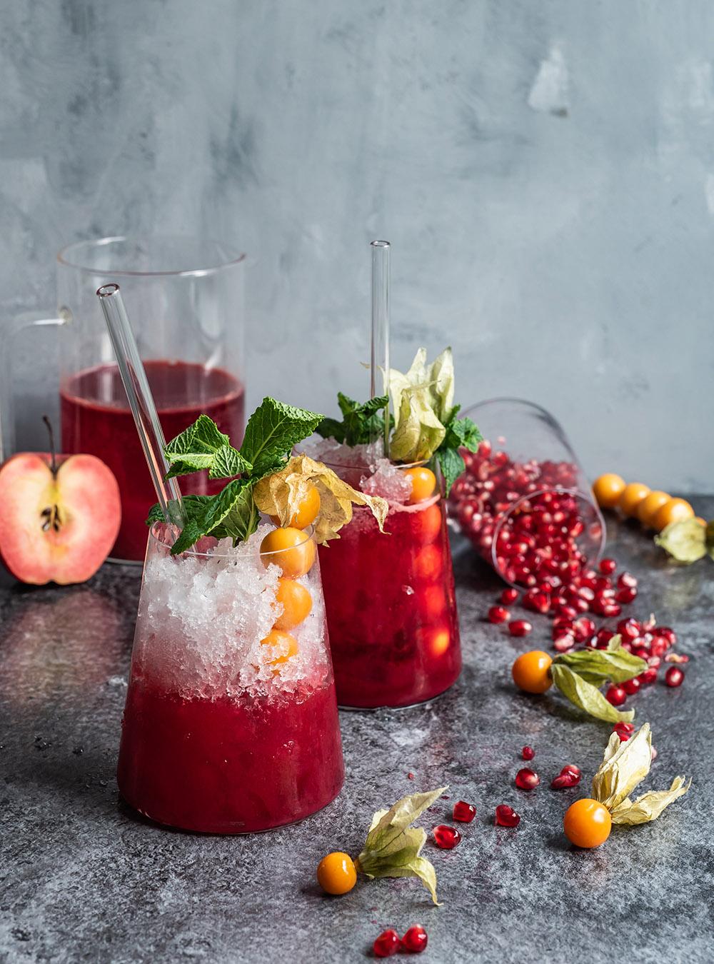 Winter Frucht Cocktail mit und ohne Rum - frischer Saft aus dem Bluicer
