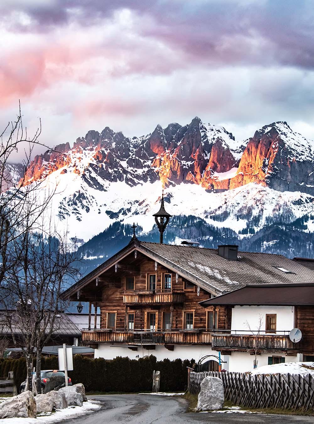 Oberndorf Alpenglühen am Wilden Kaiser