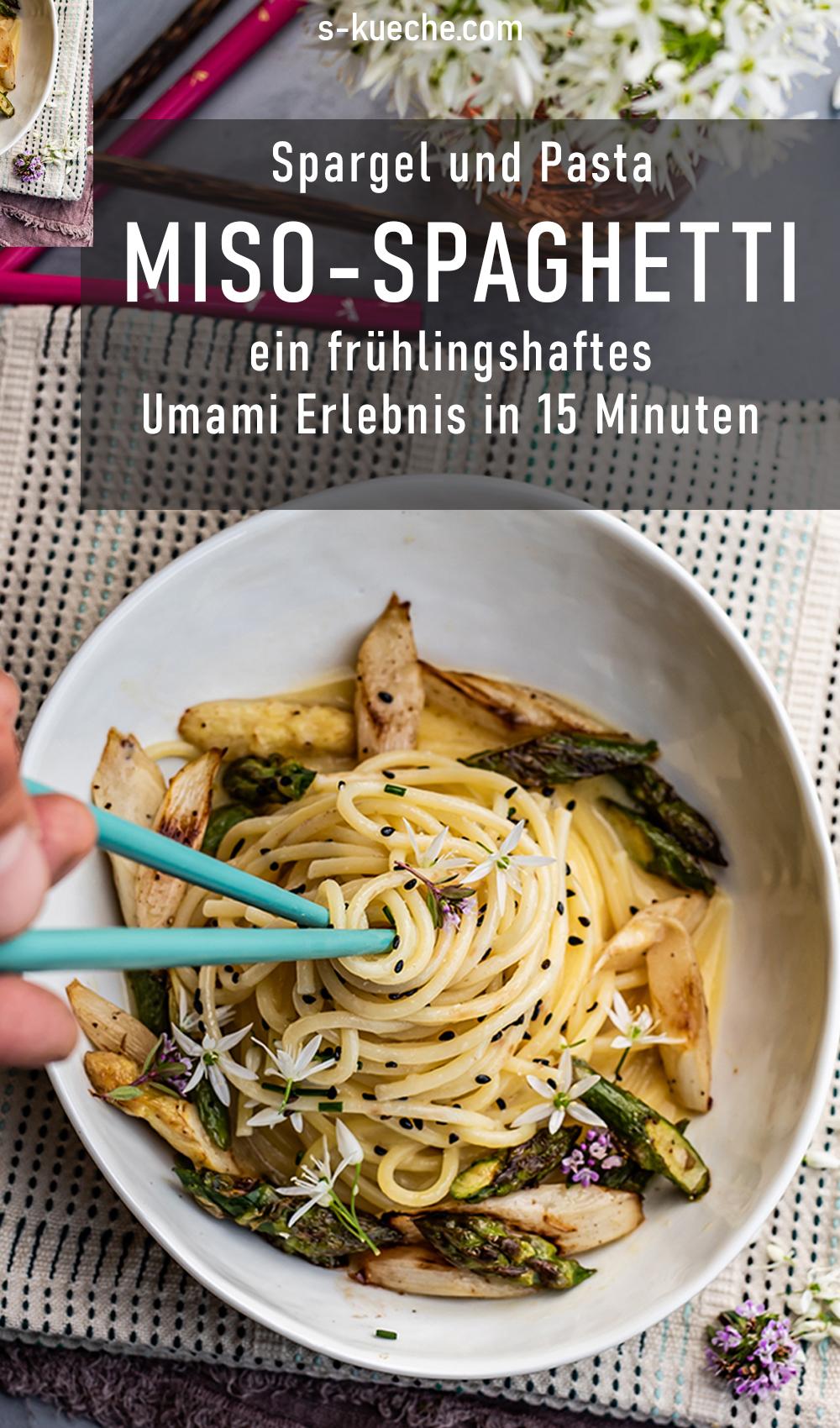 Miso Spaghetti mit buntem Spargel